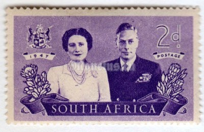 "марка Южная Африка 2 пенни ""King George VI and Queen Elizabeth"" 1947 год"
