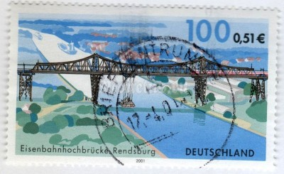 "марка ФРГ 110 пфенниг ""Railway bridge, Rendsburg"" 2001 год Гашение"