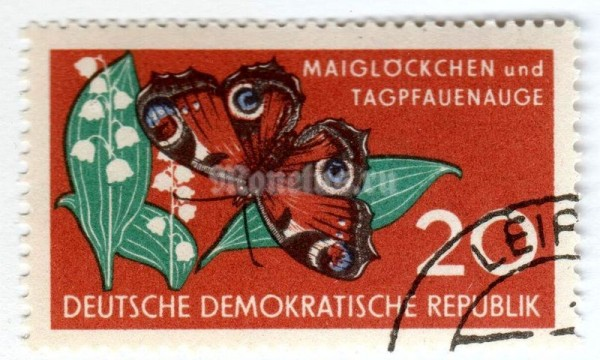 "марка ГДР 20 пфенниг ""Peacock Butterfly (Inachis io), Lily-of-the-Valley (Convalla)"" 1959 год Гашение"