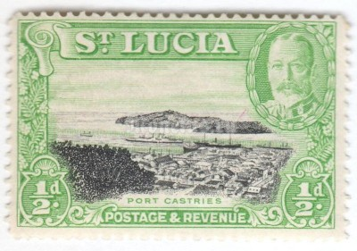 "марка Сент-Люсия 1/2 пенни ""Port Castries"" 1936 год"