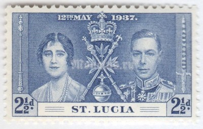 "марка Сент-Люсия 2 1/2 пенни ""King George VI and Queen Elizabeth I"" 1937 год"
