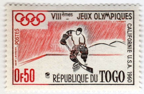 "марка Тоголезия 0,50 франка ""Winter olympics, Squaw Valley"" 1960 год"