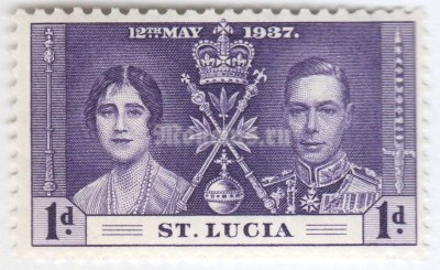 "марка Сент-Люсия 1 пенни ""King George VI and Queen Elizabeth I"" 1937 год"