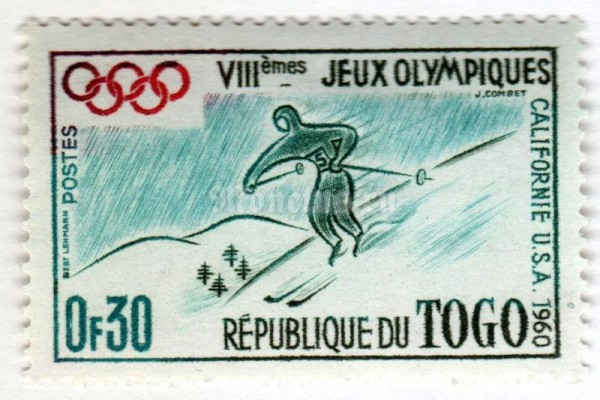 "марка Тоголезия 0,30 франка ""Winter olympics, Squaw Valley"" 1960 год"