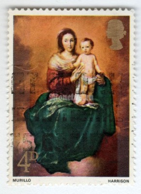 "марка Великобритания 4 пенни ""Madonna and Child (Murillo)"" 1967 год Гашение"