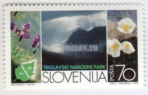 "марка Словения 70 толар ""Europe an Natur Conservation Year - Triglav National Park"" 1995 год"