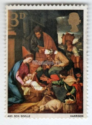 "марка Великобритания 3 пенни ""The Adoration of the Shepherds - 3d"" 1967 год Гашение"