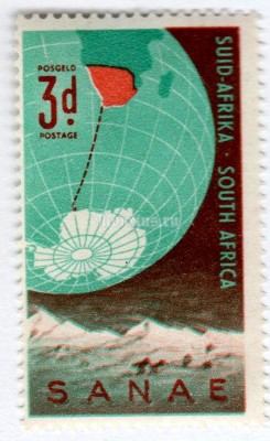 "марка Южная Африка 3 пенни ""South African National Antarctic Expedition"" 1959 год"