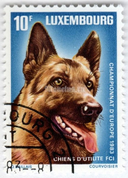 "марка Люксембург 10 франков ""German Shepherd (Canis lupus familiaris)"" 1983 год Гашение"
