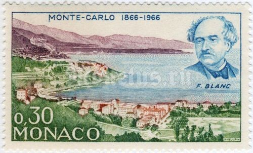 "марка Монако 0,30 франка ""General view of Monte Carlo around 1864, F. Blanc"" 1966 год"