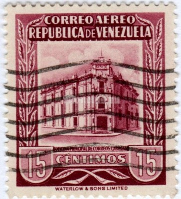 "марка Венесуэла 15 сентимо ""Main Post Office Caracas"" 1953 год гашение"