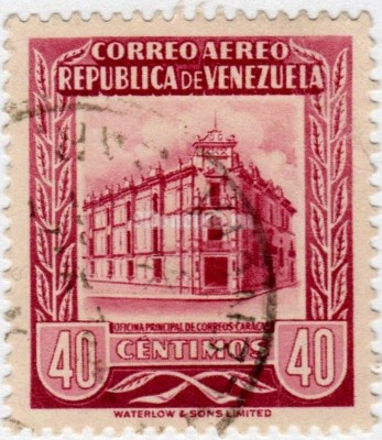 "марка Венесуэла 40 сентимо ""Main Post Office Caracas"" 1953 год гашение"
