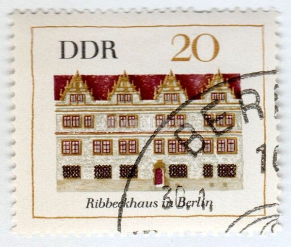 "марка ГДР 20 пфенниг ""Ribbeckhouse in Berlin"" 1967 год Гашение"