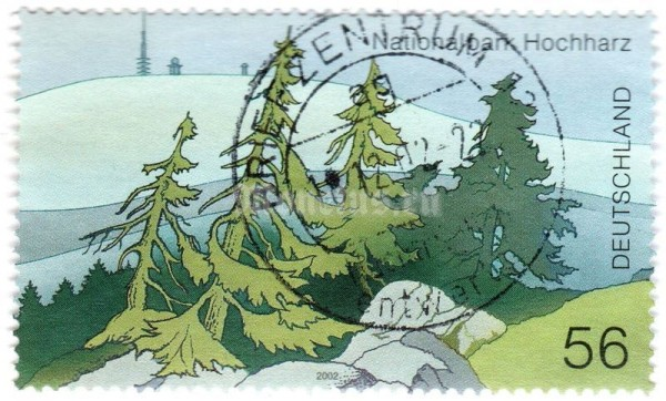 "марка ФРГ 56 центов ""National park Hochharz; Mountain landscape with spruce trees"" 2002 год Гашение"