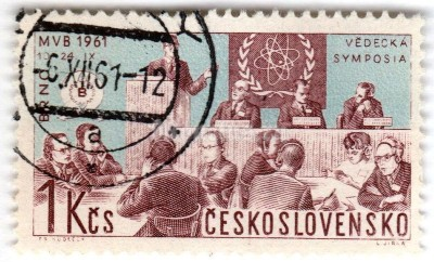 "марка Чехословакия 1 крона ""Scientists' meeting and nuclear physics emblem"" 1961 год Гашение"
