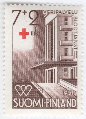 "марка Финляндия 7+2 марки ""Red Cross Hospital, Helsinki"" 1951 год"