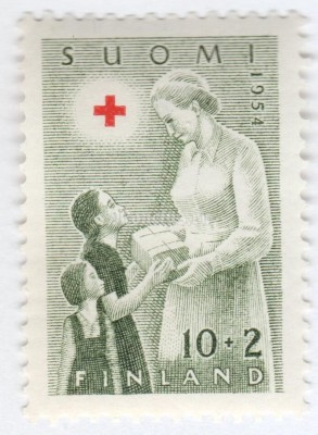 "марка Финляндия 10+2 марки ""Red Cross Nurse giving Gifts to Children"" 1954 год"