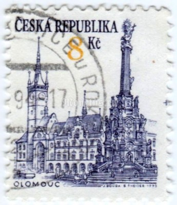 "марка Чехия 8 крон ""Olomouc (UNESCO World heritage site)"" 1993 год гашение"