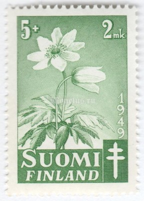 "марка Финляндия 5+2 марки ""Grove Windflower (Anemone nemorosa)"" 1949 год"