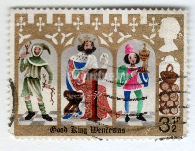 "марка Великобритания 3 1/2 пенни ""Good King Wenceslas, the Page and Peasant"" 1973 год Гашение"