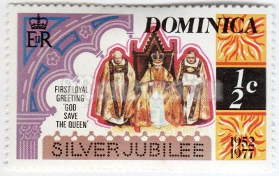 "марка Доминика 1/2 цента ""Queen Enthroned"" 1977 год"
