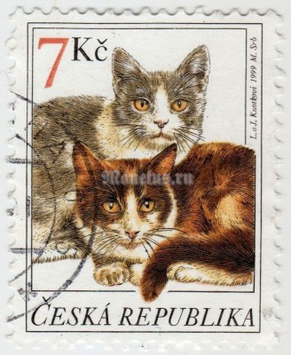 "марка Чехия 7 крон ""Domestic Cat (Felis silvestris catus)"" 1999 год гашение"