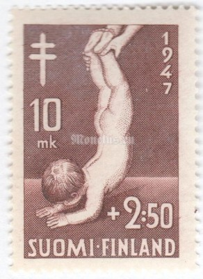 "марка Финляндия 10+2,50 марки ""Health Gymnastics for Children"" 1947 год"