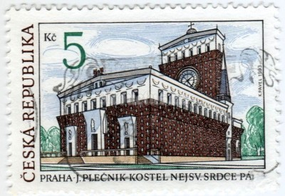 "марка Чехия 5 крон ""The Church of the Sacred Heart of our Lord in Prague"" 1993 год гашение"