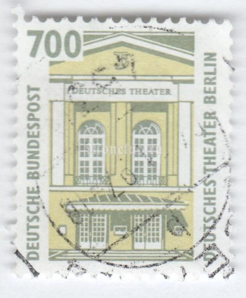 "марка ФРГ 700 пфенниг ""German Theater, Berlin"" 2002 год Гашение"