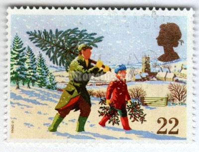 "марка Великобритания 22 пенни ""Fetching the Christmas Tree"" 1990 год Гашение"