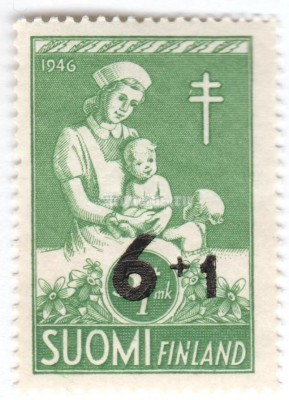 "марка Финляндия 6+1 марка ""Nurse with Children"" 1947 год"
