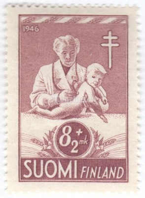 "марка Финляндия 8+2 марки ""Female Doctor Examining Small Child"" 1946 год"