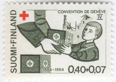 "марка Финляндия 0,40+0,07 марки ""handing out of Red Cross Package to a Child"" 1964 год"